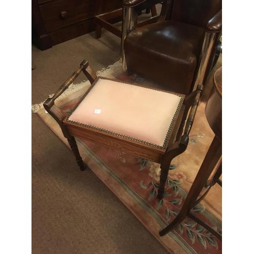 950 - Mahogany inlaid music seat....