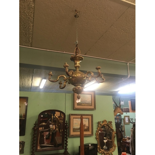 958 - Pair of Edwardian brass six branch chandeliers....