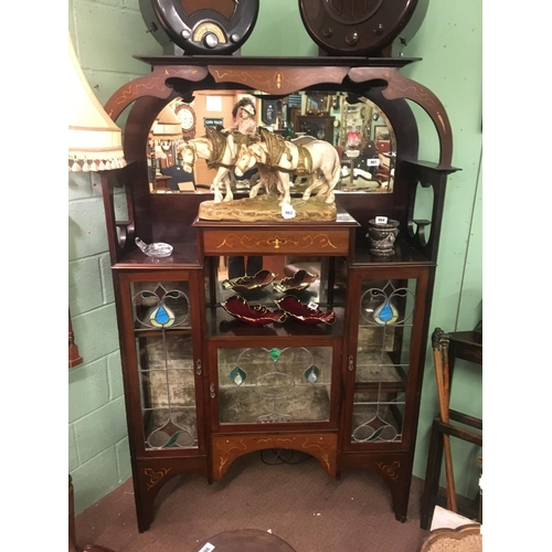 961 - Good quality inlaid mahogany china cabinet in the Art  Nouvea style....