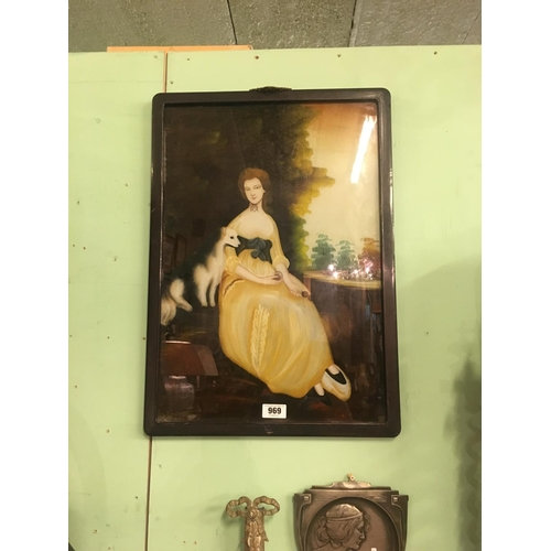 969 - C19th. Crystoleum depicting young Lady and dog....