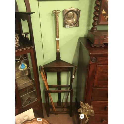 971 - Late Victorian oak and brass corner stick stand....