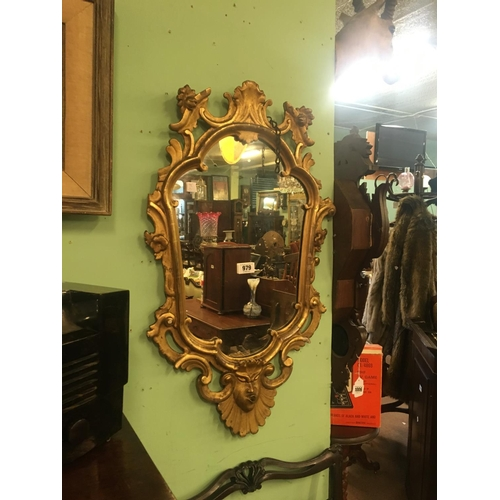 979 - Early C19th. Gilt Irish pier mirror with shell detail....