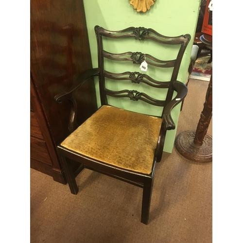 980 - Georgian style mahogany ladder back open armchair....