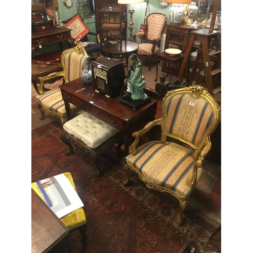 982 - Pair of French gilt armchairs....