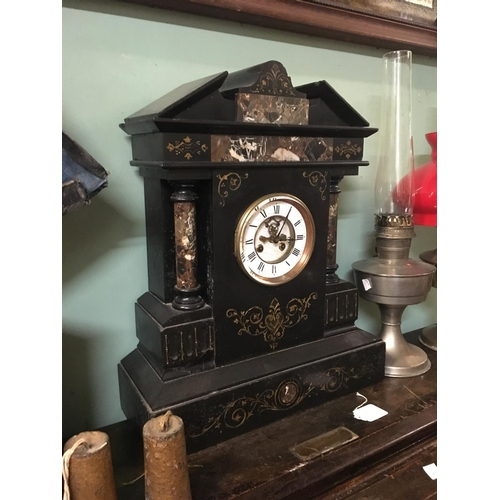 113 - C19th. marble and slate mantle  clock....
