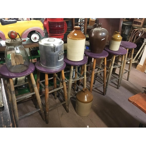 124 - Six C19th. painted ash bar stools....