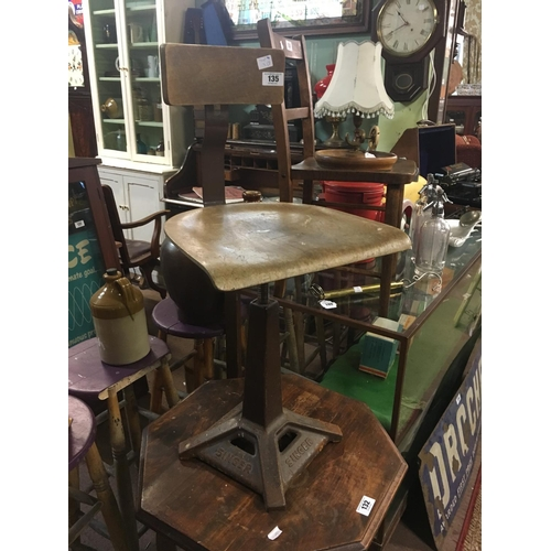135 - 1930's SINGER sewing machine chair....