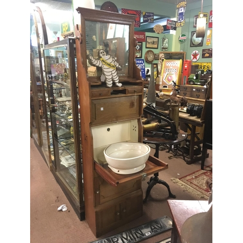 153 - C19th. Mahogany ship's wash cabinet with original basin....