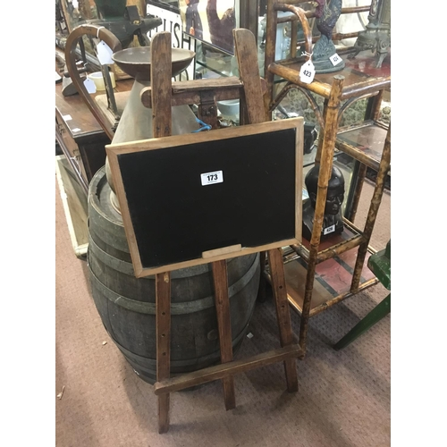 173 - Small blackboard and wooden easel....