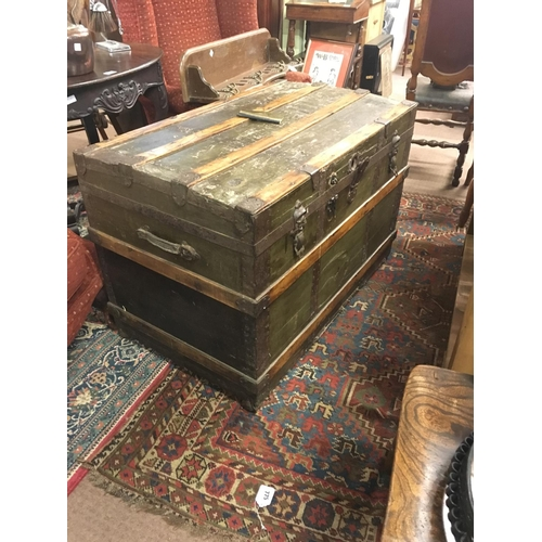 192 - Good American C19th. Trunk with original green cloth....