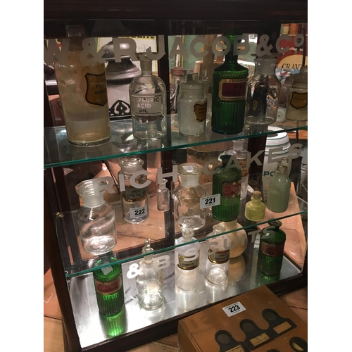 222 - Three shelves of C19th chemist bottles....