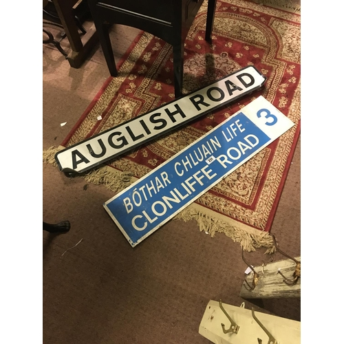 231 - CLONLIFFE ROAD  and AUGLISH ROAD aluminium signs....