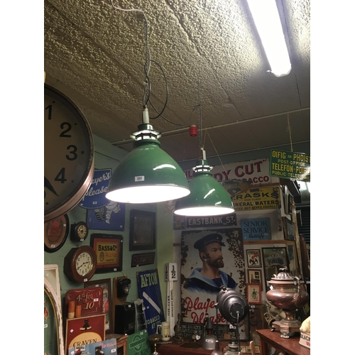 251 - Pair of green enamel industrial lights....