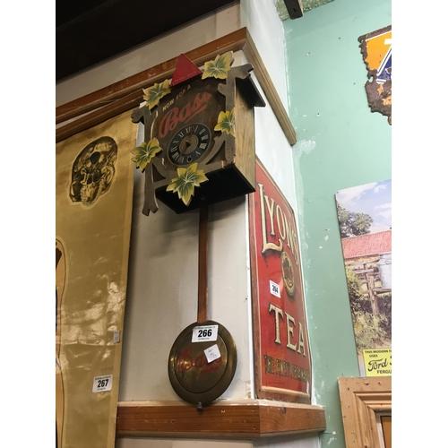 266 - 1970's BASS wooden advertisment clock....