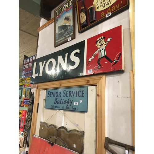 270 - 1970's LYONS TEA wooden sign....
