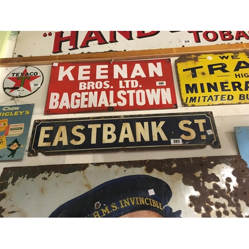 283 - Original EASTBANK ST street sign....