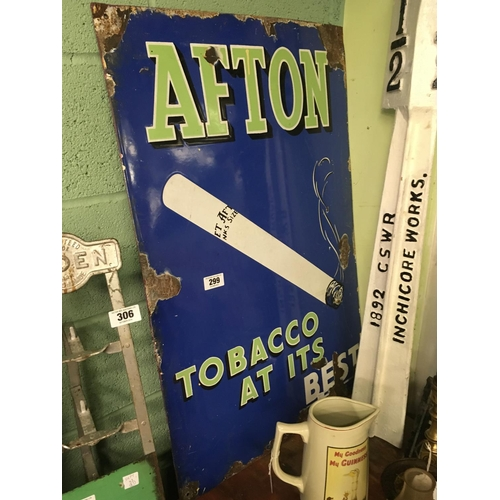 299 - Original AFTON cigarette enamel sign....