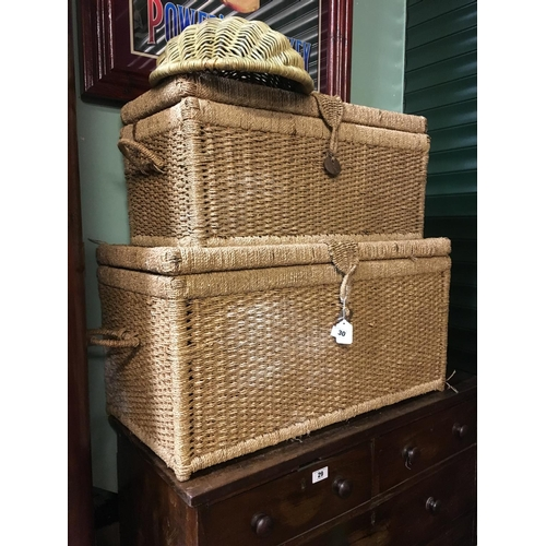 30 - Two rope laundry chests and one wicker fruit bowl....