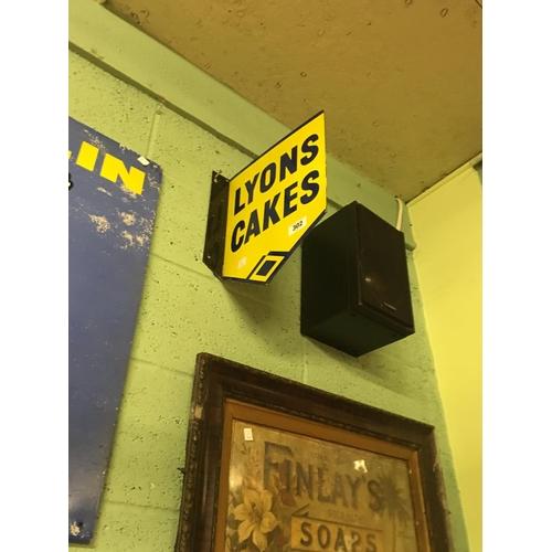 302 - Original double sided LYONS CAKES enamel sign....