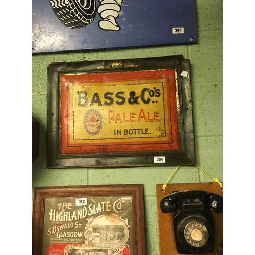 304 - Original BASS and Co's tinplate sign....
