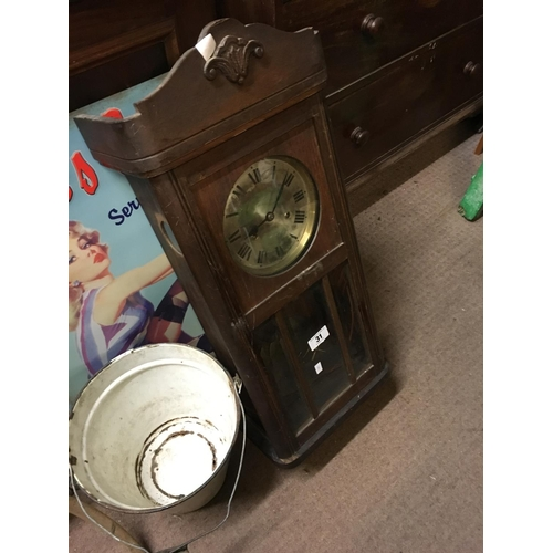 31 - 1930's oak wall clock with silver dial....