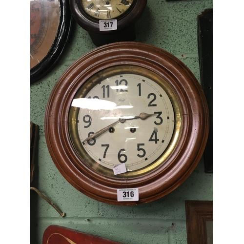 316 - 1920's mahogany circular wall clock....
