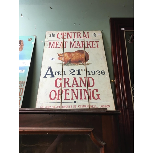 32 - CENTRAL MEAT MARKET wooden advertisement board....