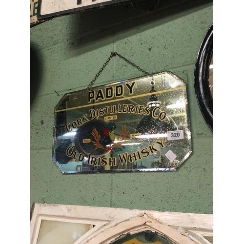 320 - Original 1930's PADDY Old Irish Whiskey mirror....