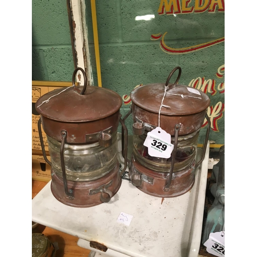 329 - Pair C19th. Copper ship's lanterns....