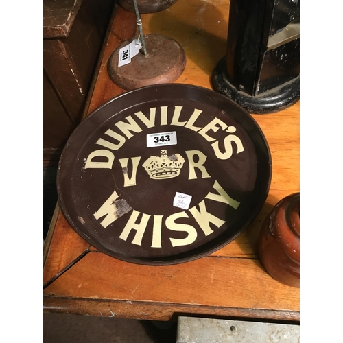 343 - C19th. DUNVILLE's Whiskey enamel advertising tray....