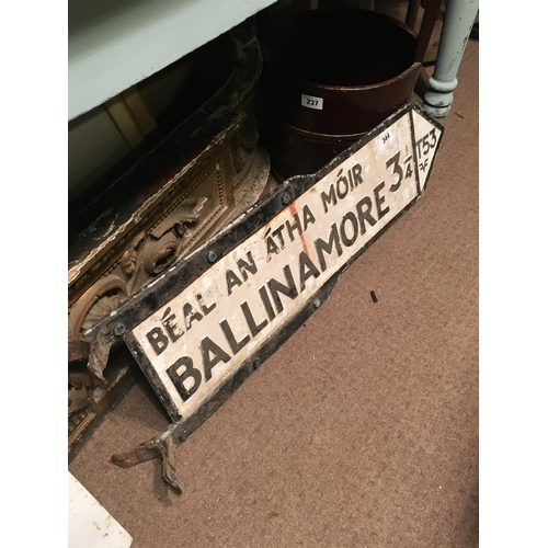 344 - Bi-lingual BALLINAMORE alloy road sign....