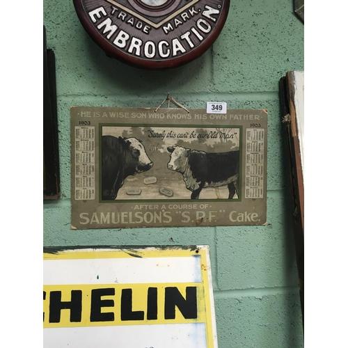 349 - 1903 SAMUELSON'S cardboard calendar....