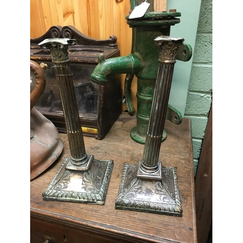 45 - Pair of silver plate candlesticks....
