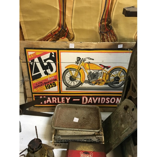 54 - HARLEY DAVIDSON wooden advertisement sign....