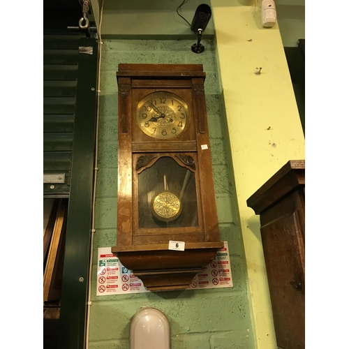 6 - 1930's brass dial mahogany wall clock....
