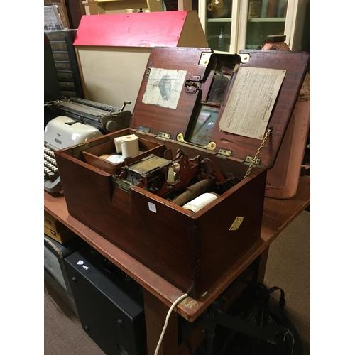 64 - C19th. mahogany and brass shop till....