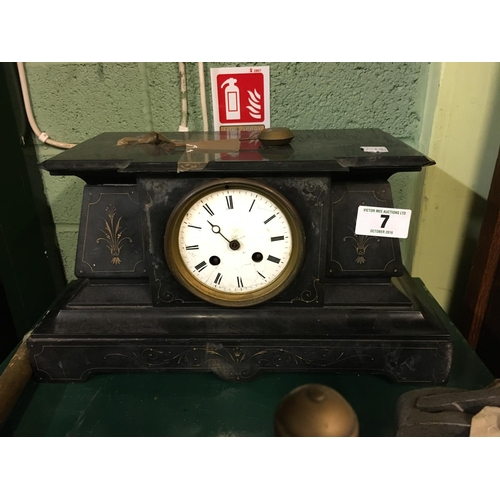 7 - Victorian slate and marble mantle clock....