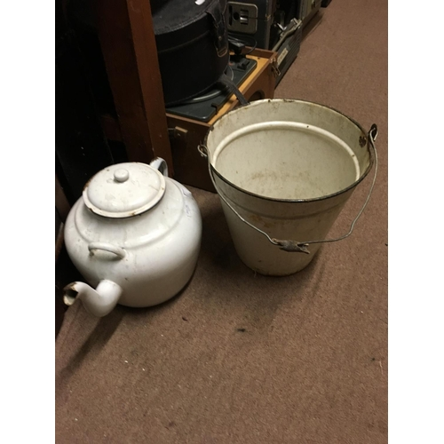71 - Large enamel teapot and bucket....