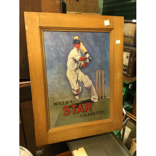 81 - Framed tinplate STAR cigarette advertising sign....