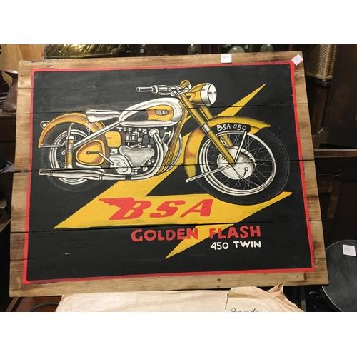 82 - BSA painted wooden sign....