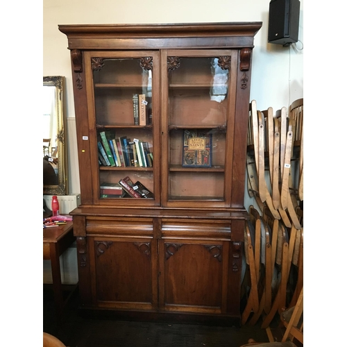 103 - Two door Victorian mahogany glazed bookcase....