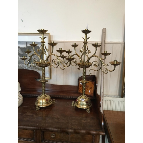108 - Pair of Victorian brass seven branch candleabra....