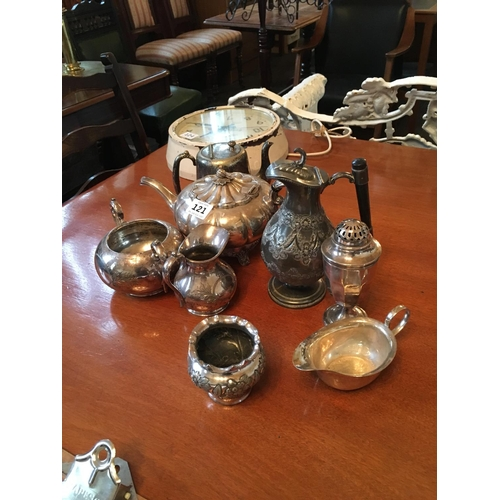 121 - Collection of silver plate tea pots jugs and bowls....