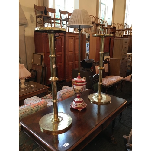 127 - Pair of brass plant stands....
