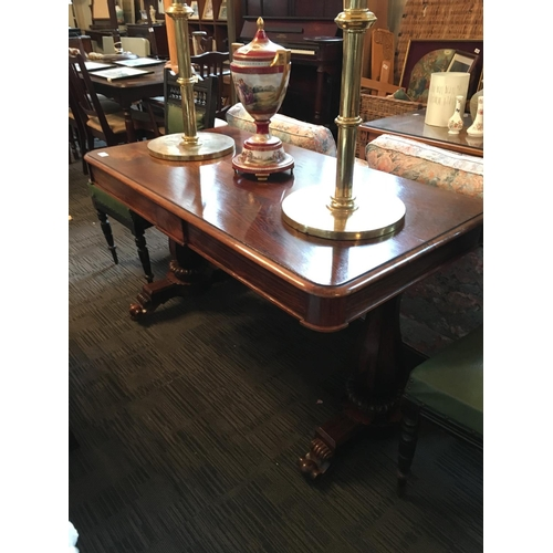 129 - William IV rosewood library table with two drawers....