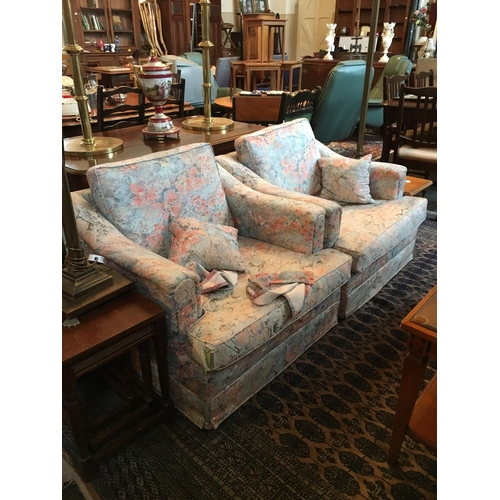 133 - Pair of upholstered fabric armchairs....
