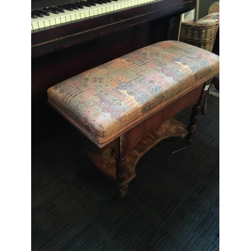 141 - Victorian oak upholstered duet piano stool....