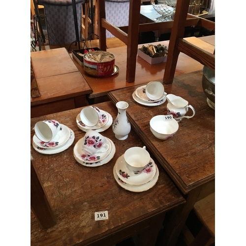 190 - Roses china tea set....