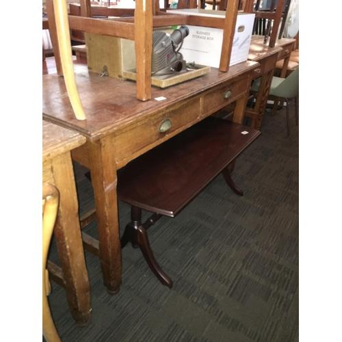 199 - Pitch pine two drawer desk....