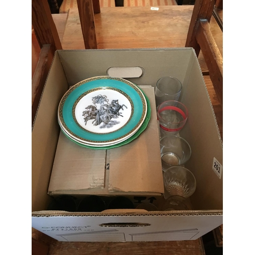 201 - Box lot of glasses and plates....